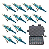 Jocoo 12PK 3 Blades Hunting Broadheads 100 Grain Screw-in Arrow Heads Arrow Tips Compatible with Crossbow and Compound Bow + 1 PK Broadhead Storage Case (Blue 12-ZZ)