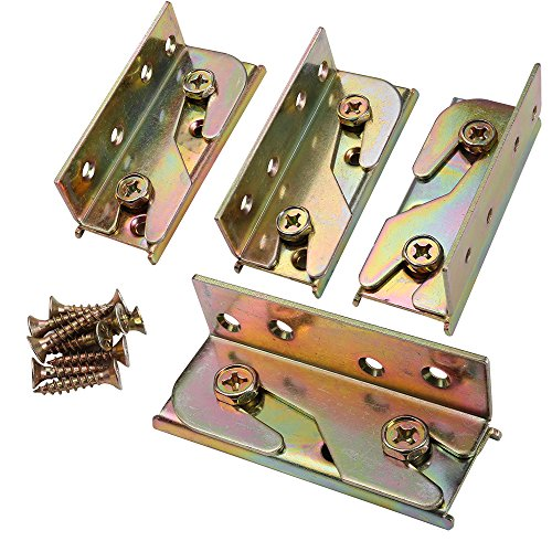SUNVORE Bed Rail Brackets - Bed Rail Fittings - Heavy Duty Non-Mortise - Set of 4 (Screws Included)