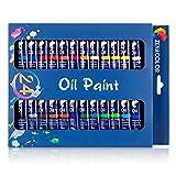 24 Tubes de Peinture à l'Huile par Zenacolor - Pack de 24 x 12mL - Set de Peinture Huile de Qualité Supérieure - Pigments riches
