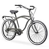 sixthreezero Around The Block Men's 7-Speed Beach Cruiser Bicycle, 26' Wheels, Matte Grey with Black Seat and Grips