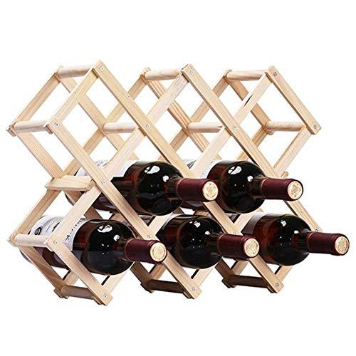 Ducomi Vinoria - Scaffale Portabottiglie Pieghevole in Legno per Vino ed Enoteca - Cantinetta Espositore Elegante e Raffinata per 10 Bottiglie (Legno Chiaro)