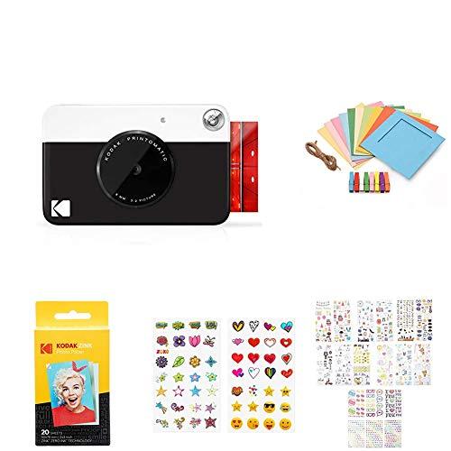 Zink Kodak PRINTOMATIC Digital Instant Print Camera (Black) with 2ʺx3ʺ Premium Photo Paper (20 Sheets), Soft Camera case, Paper Unique Colorful Stickers & Photo Album Accessories