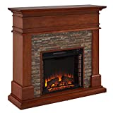 Southern Enterprises Hennington Fireplace, Glazed Pine, Multicolored River Stone