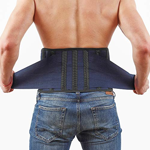 Back Support Lower Back Brace provides Back Pain Relief - Breathable Lumbar Support Belt for Men and Women keeps your Spine Straight and Safe - Large size 38''- 45' Belly Waist Line
