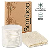 Reusable Makeup Remover Pads - 20 Packs Natural Bamboo Cotton Rounds Eco-friendly for all skin types with Cotton Laundry Bag