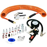 FYPower 22 Pieces Air Compressor Accessories kit, 1/4 inch x 25 ft Recoil Poly Air Compressor Hose Kit, 1/4' NPT Quick Connect Air Fittings, Tire Inflator Gauge, Blow Gun, Swivel Plugs, Orange PU Hose