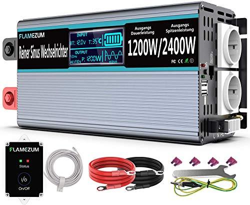 Flamezum 1200W Convertisseur Pur Sinus DC 12V à AC 230V Onduleur avec Affichage LED Intelligent...
