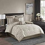 Madison Park Odette Comforter Set Jacquard Damask Medallion Design All Season Down Alternative Bedding, Matching Shams, Bedskirt, Decorative Pillows, Cal King(104'x92'), Tan