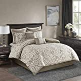 Madison Park Odette 8 Piece Comforter Textured Jacquard, Damask Medallion, Embroidered Pillow All Season Modern Classic Luxe Bedding Set, Matching Sham, Bedskirt, Queen, Tan