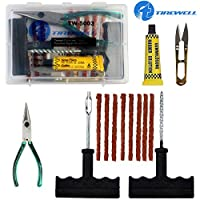 UNIVERSAL TUBELESS TIRE REPAIR KIT: TIREWELL TW-5003 6-in-1 Portable Tubeless Tyre Puncture Repair Kit is a compact and convenient set that has everything you need to repair tubeless tires on your own. With T handle Grips and Repair String Plugs, you...