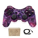 Wireless Controllers for PS3 Playstation 3 Dual Shock, Bluetooth Remote Joystick Gamepad for Six-axis with Charging Cable,Pack of 1 (Starry Sky1111)