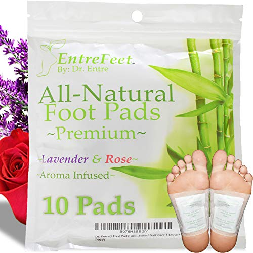 Dr. Entre's Foot Pads: Organic All Natural Formula for Impurity Removal, Pain Relief, Sleep Aid, Relaxation | Aroma Infused 10 Pack Free Foot Care E-Book Included