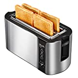 IKICH 4 Slice Long Slot Toaster Prime Rated, Stainless Steel Bread Toasters(Warming Rack, 6 Bread Shade Settings, Defrost/Reheat/Cancel Function, Extra Wide Slots, Removable Crumb Tray, 1300W)