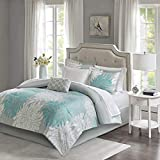 Madison Park Essentials Maible Cozy Bed in A Bag Comforter with Complete Cotton Sheet Set-Floral Medallion Damask Design All Season Cover, Decorative Pillow, Twin(68'x86'), Aqua/Gray