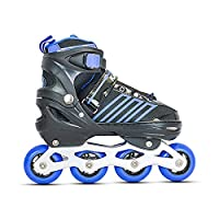 BOOTS - Soft shell with velcro cinch strap and lever buckle across the top with built in liner and comfort fit padding WHEELS- 4 X 70MM, ABEC-7 bearings, Hardness-82A PU casted high rebound inline wheels. This helps you to get the double push techniq...