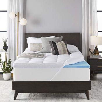 Sleep Innovations 4-inch Dual Layer Gel Memory Foam Mattress Topper Enhanced Support, Queen