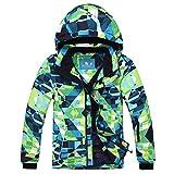 PHIBEE Big Boy's Waterproof Breathable Snowboard Ski Jacket (Print, 7)