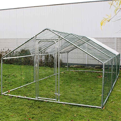 Wiltec Freilaufgehege Außengehege Voliere Hühnerstall Hasenstall Kleintiergehege 2x3x2m (LxBxH) Sonnendach