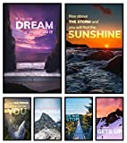 6 Inspirational Posters for Motivational Wall Art, Home Gym Decor, Office Wall Art, Artwork for Home, Classroom Posters and Positive Affirmations for Home and Work (Unframed, 11x17 In, Set of 6)