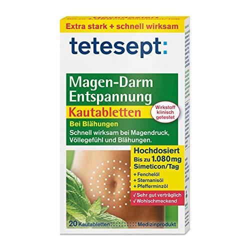 tetesept Magen-Darm Entspannung Kautabletten - mit Kräutergeschmack – Medizinprodukt zur Anwendung bei Blähungen, Völlegefühl & Magendruck - hochdosiert mit Simeticon 1 x 20 Stück