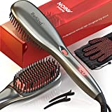 30-IN-1 BeKind Anion Hair Straightener Brush, Built in Upgraded Anion Feature, 15s Fast Heat-up, Multiple Temperature Settings (from 265℉ to 450℉) with Anti-Scald Design, Gifts for Girls Women