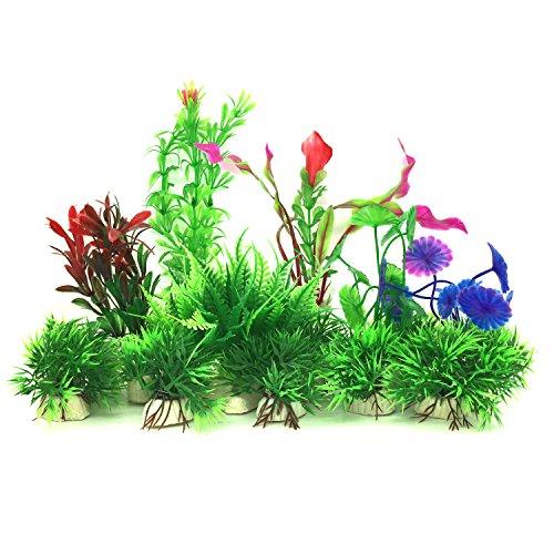 PietyPet Aquarium Wasserpflanzen, 16 Stück Klein Kunststoff Pflanzen Aquarium Aquariumpflanze Fisch Tank Dekoration