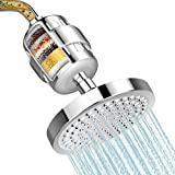 Shower Head and 15 Stage Shower Filter, FEELSO High Output Hard Water Softener Showerhead with Filter Cartridge for Hard Water Remove Chlorine and Harmful Substances