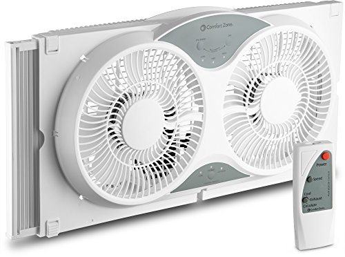 BOVADO USA Twin Window Cooling Fan with Remote Control - Electronically Reversible  Includes Bug Screen & Fabric Cover  Locking Extenders to fit Large Windows (Min. 23.5 Max. 37) by Comfort Zone