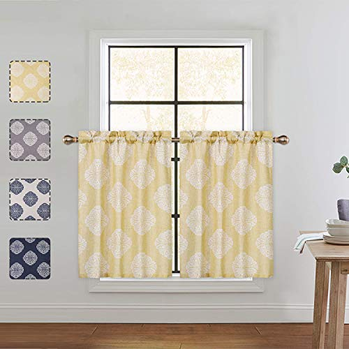 CAROMIO Kitchen Curtains 36 Inch Size, Floral Medallion Damask Print Linen Blended Tier Curtains for Kitchen Cafe Small Half Window Curtains for Toilet, Yellow