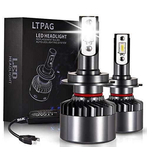 LTPAG Lampadine H7 LED, Nuovo 72W 12000LM Fari Abbaglianti o Anabbaglianti per Auto - Kit Sostituzione per Luci Alogene o Lampade Xenon Luci Luminosa 12V-24V 6000K Bianco - 2 Anni Di Garanzia