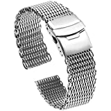Solid Shark Mesh 18mm Stainless Steel Watch Band, Diving Wrist Silver Watch Strap Replacement Ladies Watch Bracelet Silver Deployment Clasp