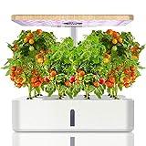 Ulikey Sistema de Cultivo Hidropnico, Jardinera de Interior de Hierbas, Maceta Inteligente de Jardn con Luz LED, Smart Garden, Kit de Germinacin Automtica con 12 Vainas, Altura Ajustable (Blanco)