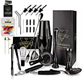 The Complete Bartender Kit 20-Piece Boston Cocktail Shaker Set - Premium Bar Accessories & Tools Set, Bonus Velvet Bag & Recipe Book, Stainless Steel Drink mixer, Mixology Barware for Home Bartending