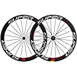 Superteam 50mm Clincher Wheelset 700c 23mm Width Cycling Racing Road Carbon Wheel Decal (White and Red Decal)