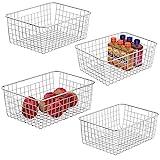 Wire Storage Basket iSPECLE 4 Pack Metal Wire Basket Sturdiness Food Storage Freezer Baskets Organizer Bins with Handles for Kitchen, Pantry, Closet, Laundry Room, Cabinets, Garage, White