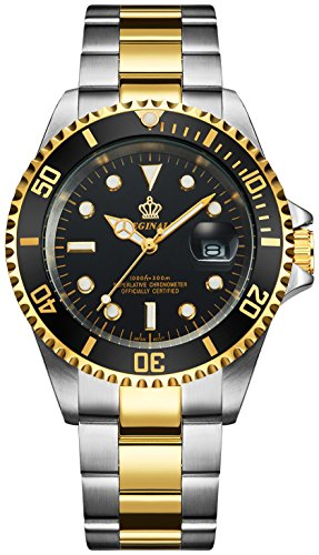 Mens Luxury Watches Ceramic Bezel Sapphire Glass Luminous Quartz Silver Gold Two Tone Stainless Steel Watch (Gold Black)