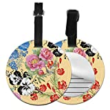 Cute Travel Bag Tags Chinese Beautiful Flower Season Name Tags For Travel Bags Bag Tag For Luggage with Adjustable Black Strap For Bags & Baggage with Privacy Protection For Women Men