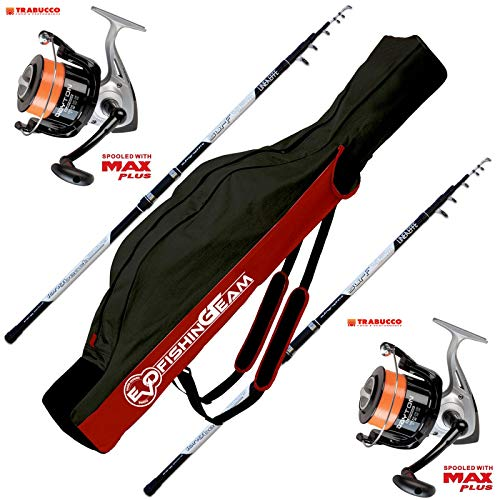 EVO FISHING Combo Kit surfcasting, 2 Long Cast 4.20 200 GR + 2 Mulinelli Trabuco Dayton 8000 + Fodero in Cordura Surfcasting Team 175 cm