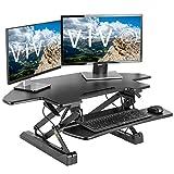 VIVO Black Corner Deluxe Height Adjustable 40 inch Standing Desk Converter | Sit Stand Tabletop Monitor and Laptop Riser Workstation (DESK-V000DC)
