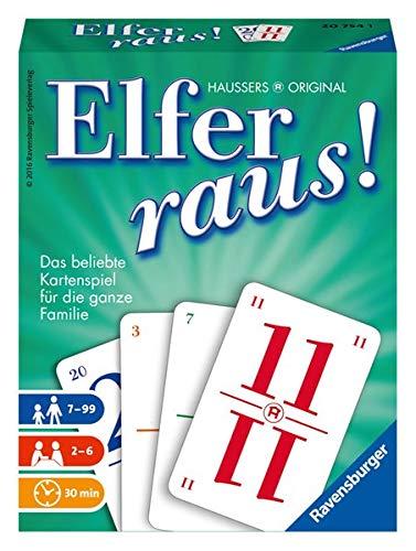 Ravensburger Elfer raus Kartenspiel, Gesellschaftsspiel 2 - 6 Spieler, Spiel ab 7 Jahren für Kinder und Erwachsene