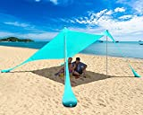 PETNOZ Beach Tent Canopy Sun Shade UPF50+, Easy Pop Up Anti-Wind Sun Shelter with Stability Poles/Carry Bag/Ground Pegs/Sand Shovel, Portable Sunshade for Beach Camping (Turquoise, 7.5×7.5 FT 2 Pole)