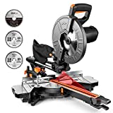 Miter Saw, TACKLIFE 15 Amp 10-Inch Sliding Compound Miter Saw with 3 Blades, Double Speed (4500 RPM & 3200 RPM), Bevel Cut (0°-45°) with Laser, Extension Table, Chip Bag, Iron Blade Guard - EMS01A