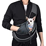 WOYYHO Pet Dog Sling Carrier Breathable Mesh Adjustable Strap Travel Sling Bag Carrier for Dogs Cats Bunny(S(up to 5 lbs), Black)