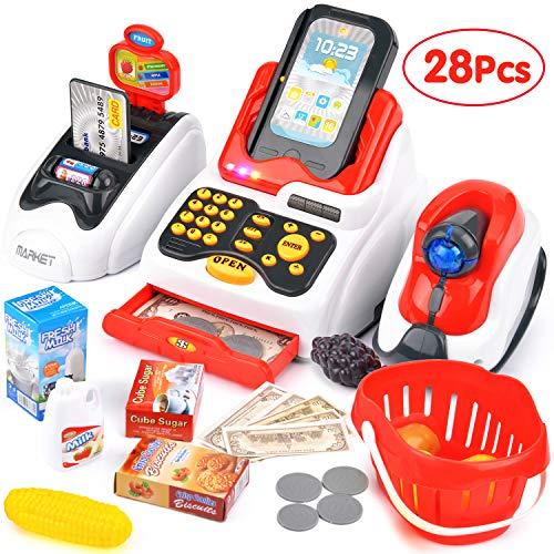 Victostar Supermarktkasse mit Scanner, Registrierkasse Spielzeug für Kinder Supermarkt Kassenstation