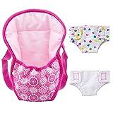 ZOEON Sac à Dos Porte-bébé et Couches pour Baby Poupée, Accessoires pour 18' Poupées (40-45 cm)...