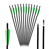 TOPARCHERY 12pcs Crossbow Bolts 20 inch Hunting Archery Carbon Arrow Crossbow Bolts Arrow with 4 inch Vanes and Replaced Arrowhead/Tip (2 Green 1 White Vanes)