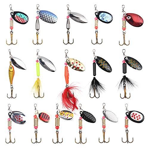 Vicloon Set di 12 Pezzi di Esche per La Pesca alla Trota,Cucchiaini da Pesca Esche Artificiali Spinning per Trota, Persico,Luccio Spoon Kit