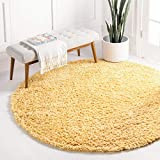 Unique Loom Davos Shag Collection Contemporary Soft Cozy Solid Shag Sunglow Round Rug (4' 0 x 4' 0)