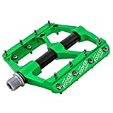 FOOKER MTB Bike Pedals Mountain Non-Slip Bike Pedals Platform Bicycle Flat Alloy Pedals 9/16' 3 Bearings for Road BMX MTB Fixie Bikes