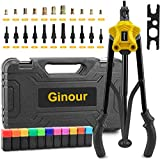 13-inch Heavy Duty Rivet Gun, Ginour with 5 Replaceable Nosepieces, 5 in 1 Hand Riveter and and Collecting Bottle, Excellent Leverage Design Save Time and Effort